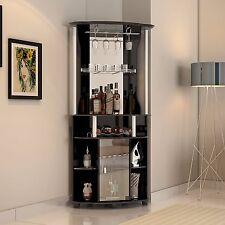 Corner Home Pub Bar Cabinet Wine Bottle Storage Stemware Rack Liquor Furniture