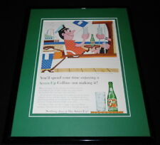 1958 Seven Up 7 Up Collins 11x14 Framed ORIGINAL Vintage Advertisement