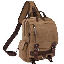 Zaino Unisex Tela di Canapa Stile Casual monopalla Body Bag Messenger Caffè PC