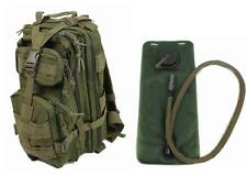 Military Molle Assault Tactical Backpack w Hydration Water Bladder Od Green Med