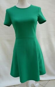 H&M Divided green crepe/crimplene short sleeve fit & flare style dress Size 10