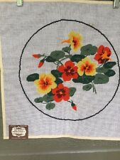 Vintage Elsa Williams Needlepoint Canvas Pansies Flowers Orange Yellow Preworked