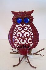 Red Metal Owl Votive Candle Halloween Trick Treat Decoration Fall Autumn