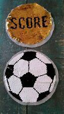XL- Patch Fußball schwarz weiß golden mit Wendepailletten Aufnäher Applikation