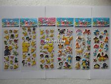 6 Sheets Puffy Japan Anime Pokemon Stickers Pikachu Pocket Monster Scrapbooking