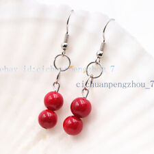 Charming 8mm Red Coral Round Beaded Dangle Silver Hook Earrings AA