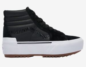 NEW Vans Sk8 Hi Stacked Platform Sneakers Boots Nubuck Black Zebra Women's 6