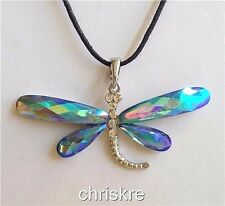 Silver Plated Dragonfly Pendant Necklace Aqua Blue Crystal Insect Bug USA Seller