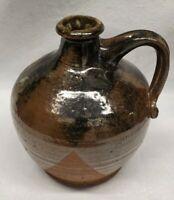 Studio Pottery Handled Jug Marked brown glaze