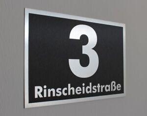 Hausnummer  im Edelstahl Look Hausnummernschild mit Wunschnummer 200x130  N3