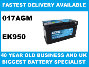 EK950 Exide 017 Battery AGM fits Alfa BMW Citroen Ford Mercedes Peugeot Vaux VW