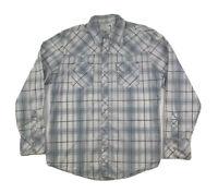 BKE Buckle Mens XL Slim Fit Western Pearl Snap Up Long Sleeve Shirt White Plaid