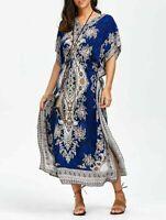 Long Kaftan Dress Hippy Boho Maxi Plus Size Women Caftan Blue Dress Nightgown