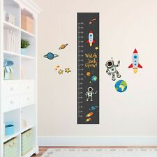 Personalised Space Astronaut  Boys Height Growth Chart +8 Vinyl Wall Stickers