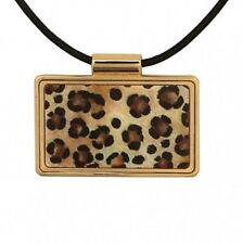 Halcyon Days, Leopard Print Black & Gold Enamel Pendant, New In Pouch