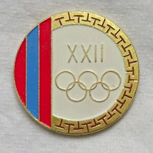 1980 MOSCOW Olympic Games MONGOLIA NOC Pin BADGE Olympics MONGOLIAN