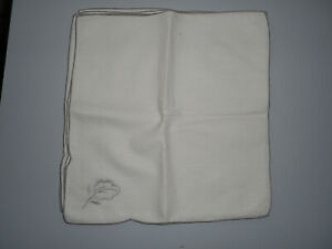 SIX LINEN TABLE NAPKINS EDGED AND EMBROIDERED