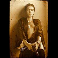 """Frida Kahlo Actress Mexican Gun Vintage poster decor photo print 16, 20, 24"""""""