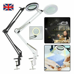 LED Desk Lamp 5X Magnifier Glass Foldable Light Stand Clamp Beauty Magnifying