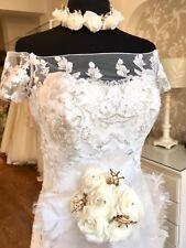 Wedding Bridal Alternative Bouquet Posy- Ivory Muslin & Chiffon, Gold tone Decor