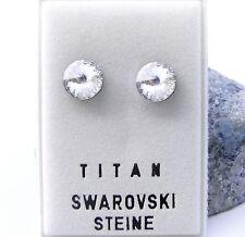 NEU Titan OHRSTECKER mit 8mm SWAROVSKI STEINE in Crystal/Kristallklar OHRRINGE
