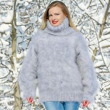 Grey white hand knit mohair sweater fuzzy handmade soft jumper SUPERTANYA SALE