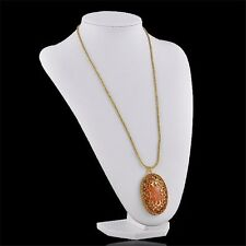 Oval Amber Pendant Neclace