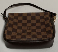 Louis Vuitton Vintage Brown Damier Ebene Trousse Make Up Bag Pochette NO1918
