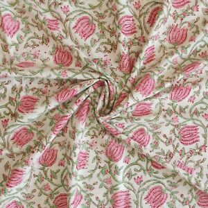Indian Block Print Off White Pink Floral Voile Cotton Women Dress Craft Fabric