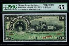 """Mexico RARE $10 Pesos""""SPECIMEN""""El Banco DE Sonora Noviembre.15 De 1904 PMG 65"""