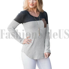 Women's Casual Color Block V Neck Long Sleeve T Shirt Tunic Tops Stripe Tshirt