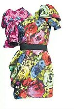 NWT Lanvin for H&M Floral Flower 80s Cocktail Party Prom Mini Dress Eur 36 US 6