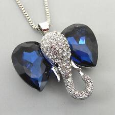 Betsey Johnson Blue Clear Crystal Cute Elephant Pendant  Long Necklace
