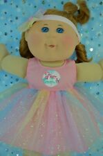 """PlaynWear Dolls Clothes For 14"""" Cabbage Patch PINK RAINBOW DRESS~HEADBAND"""
