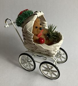 Vintage Miniature Wicker BABY BEAR CUB Stroller Carriage Dollhouse Christmas