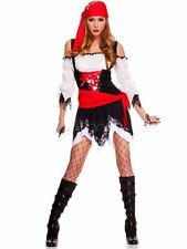 Stylish Halloween Black White Red Sexy Pirate Costumes for Adult