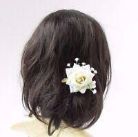 Ivory White Rose Gypsophila Baby's Breath Flower Hair Pin Bridesmaid Bridal 2961