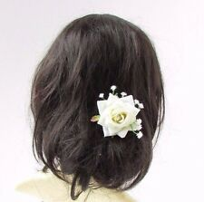 Ivory White Rose Gypsophila Baby's Breath Flower Hair Pin Bridesmaid Bridal 2961