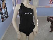 Bebe BLK One Shoulder Rhinestone Logo Bodysuit Top NWT$69~L~Only One~