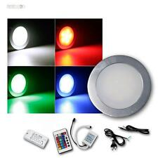 "8er Komplett-Set RGB LED Einbauleuchten ""EBL Slim"" rund Aluminium Einbaustrahler"