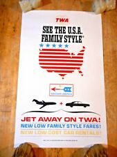 New listing C 1960S SEE THE USA TWA ORIGINAL TOURIST TRAVEL POSTER FAMILY STYLE JET AWAY