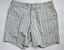 VGC Vtg 70s Green Beige Plaid Polycotton Nerd Golf Shorts Short Pants 34