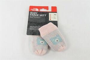 North Face Pink Faroe Mitt Mitten Glove Baby Size XXS Fair Isle Bear