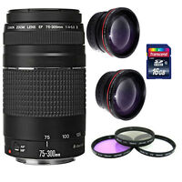 Canon EF 75-300mm f/4.0-5.6 III Autofocus Lens+ For Canon T6 T5i T6i T6s 70D 80D