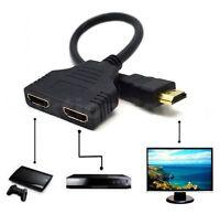 ✅HDMI Splitter 1 HDMI auf 2 HDMI Buchse Verteiler Adapter Kabel Umschalter *NEU*