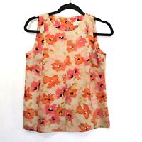 Ann Taylor Womens Tank Top Size Small Petite Blouse Floral Sleeveless