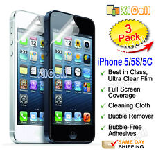 3pk New Apple iPhone 5 / 5S / 5C Screen Protector, ULTRA CLEAR PET Guard Film
