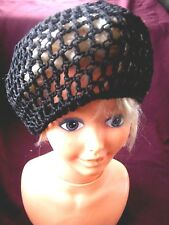 LADIES BLACK CROCHET + SEQUINED CAP/BERET STRETCHY TO FIT ALL SIZES