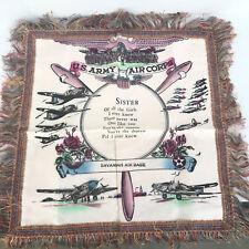 US Army Souvenir Fringe Pillow Cover Savannah Sister Vintage