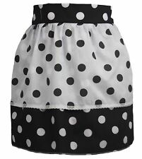 Ladies Black & White Polka Dot Pinafore With White & Black Polka Dot Apron